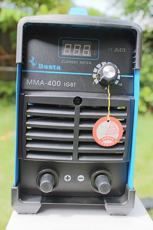 ตู้เชื่อมอินเวอร์เตอร์ MMA-400 BOSTA สีฟ้า แถมฟรี สายเชื่อม หน้ากาก ด้ามเคาะแปลงลวด