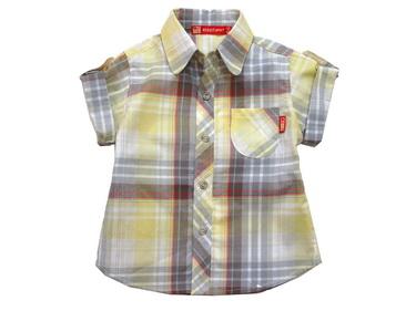 KGB307-16 Kidsplanet เสื้อเด็กผู้หญิง เชิ้ตคอบัวแขนสั้น ลายสก็อต สีเหลือง พับแขนขึ้นติดกระดุมได้ ผ้าเนื้อนิ่มใส่สบายมาก ๆ ค่ะ เหลือ Size 12M/24M