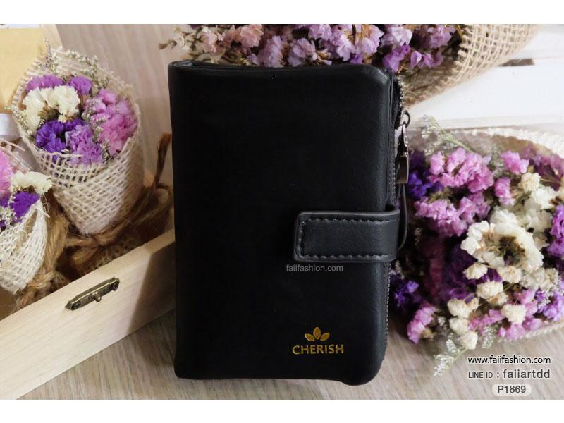 กระเป๋าสตางค์ผู้หญิงใบสั้น CHERISH หนังPUนุ่ม แต่งอะไหล่และซิปรมดำอย่างดี