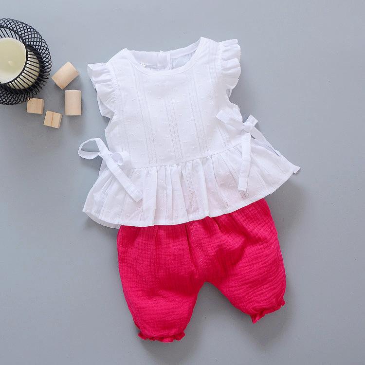 ชุดเซตเสื้อสีขาว+กางเกงสีบานเย็น แพ็ค 4 ชุด [size 6m-1y-2y-3y]