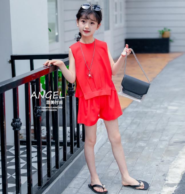 เสื้อ+กางเกง สีแดง แพ็ค 6 ชุด ไซส์ 110-120-130-140-150-160 (เลือกไซส์ได้)