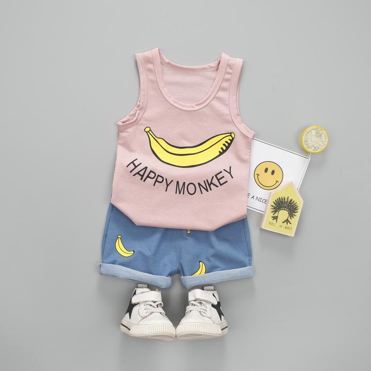ชุดเซตเสื้อกล้ามสีชมพูลายกล้วย+กางเกงสีฟ้า แพ็ค 2 ชุด [size 6m-2y]
