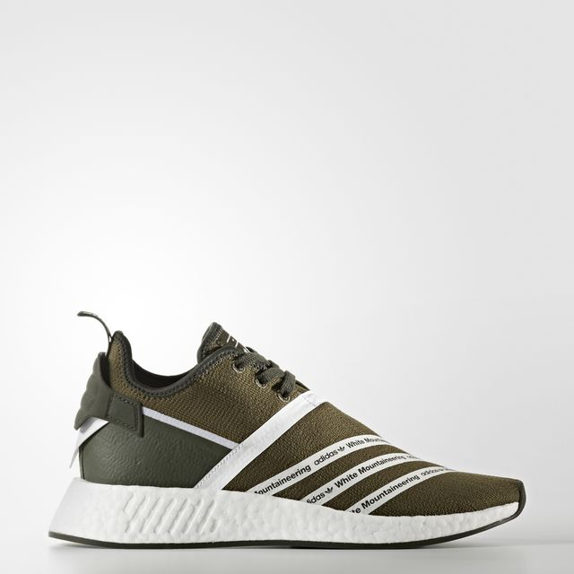 WHITE MOUNTAINEERING NMD_R2 PRIMEKNIT SHOES Color Trace Olive /Footwear White