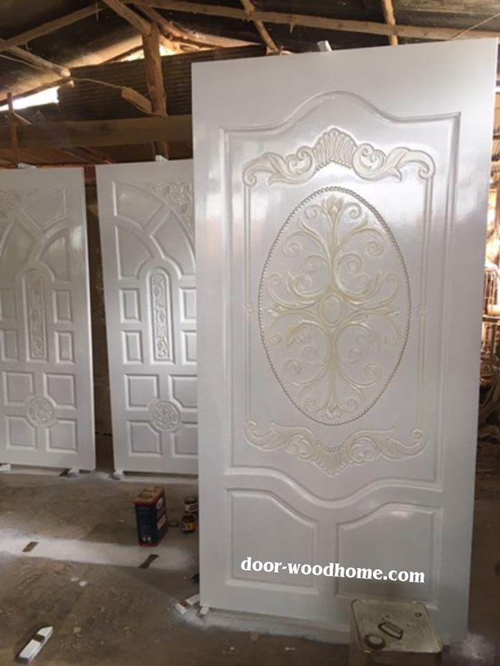 ประตูไม้สักบานเดี่ยว หลุย สีขาว เกรดA รหัส AA188