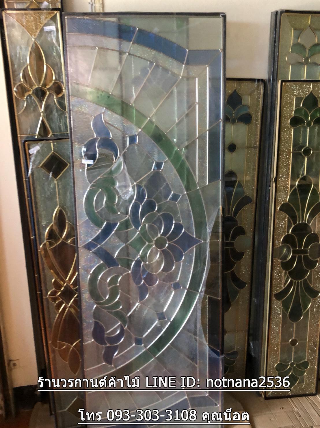 กระจกนิรภัยสเตนกลาส, ประตูไม้สัก รหัส G66