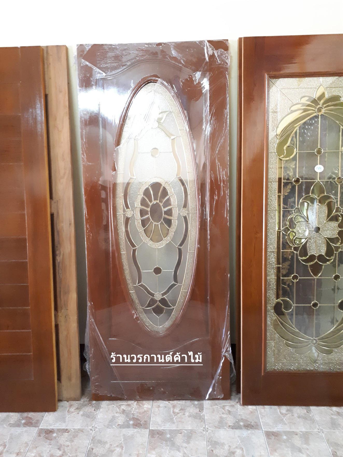 ประตูไม้สักกระจกนิรภัย วงรี เกรดA รหัส A64
