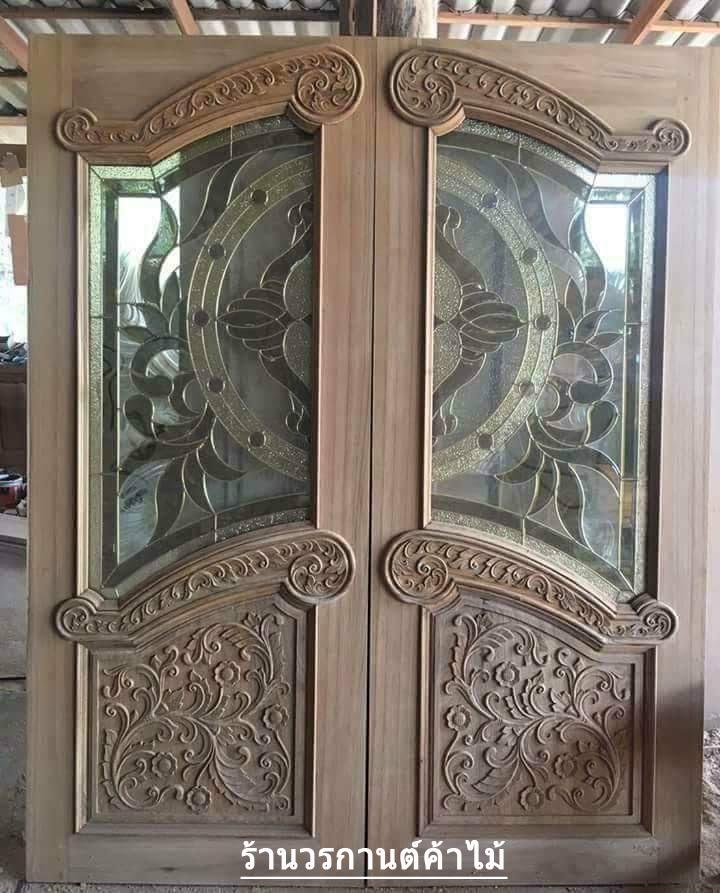 ประตูไม้สักกระจกนิรภัย ปีกนก เกรดA รหัส AA05