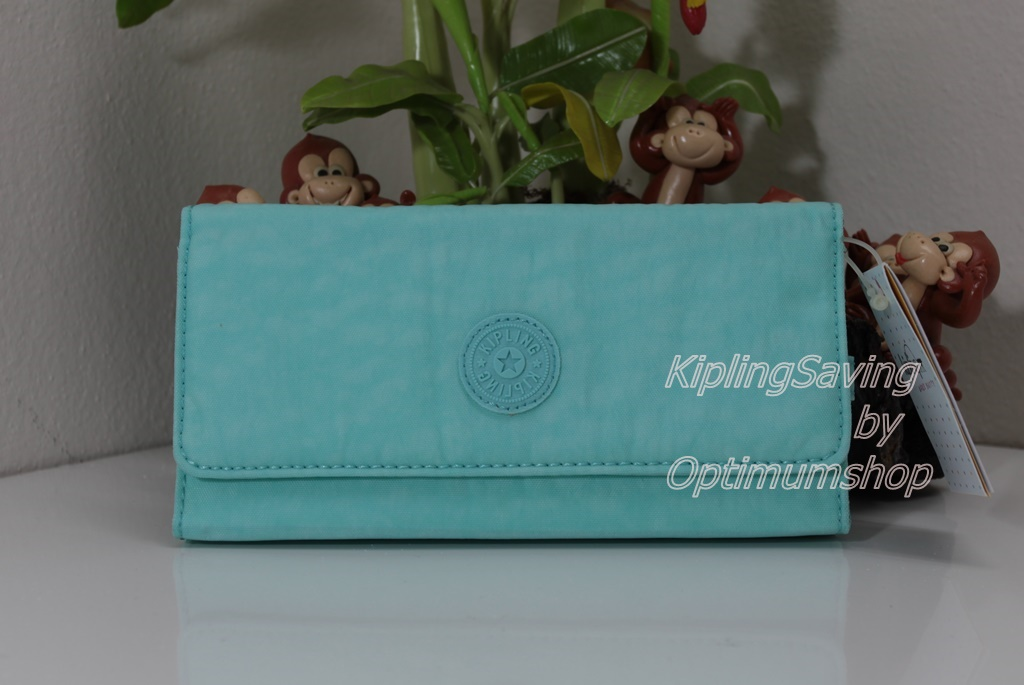 Kipling New Teddi Fresh Teal หรือชื่อเดิม Brownie กระเป๋าสตางค์ใบยาว ขนาด 7.5x3.75x1xนิ้ว