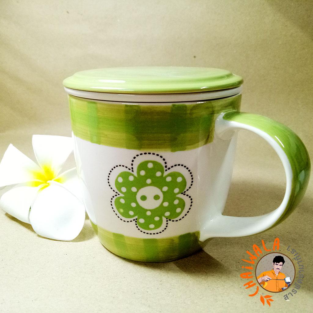 Mug ทรงเตี้ย (เขียว-ขาว) พรัอมที่กรอง