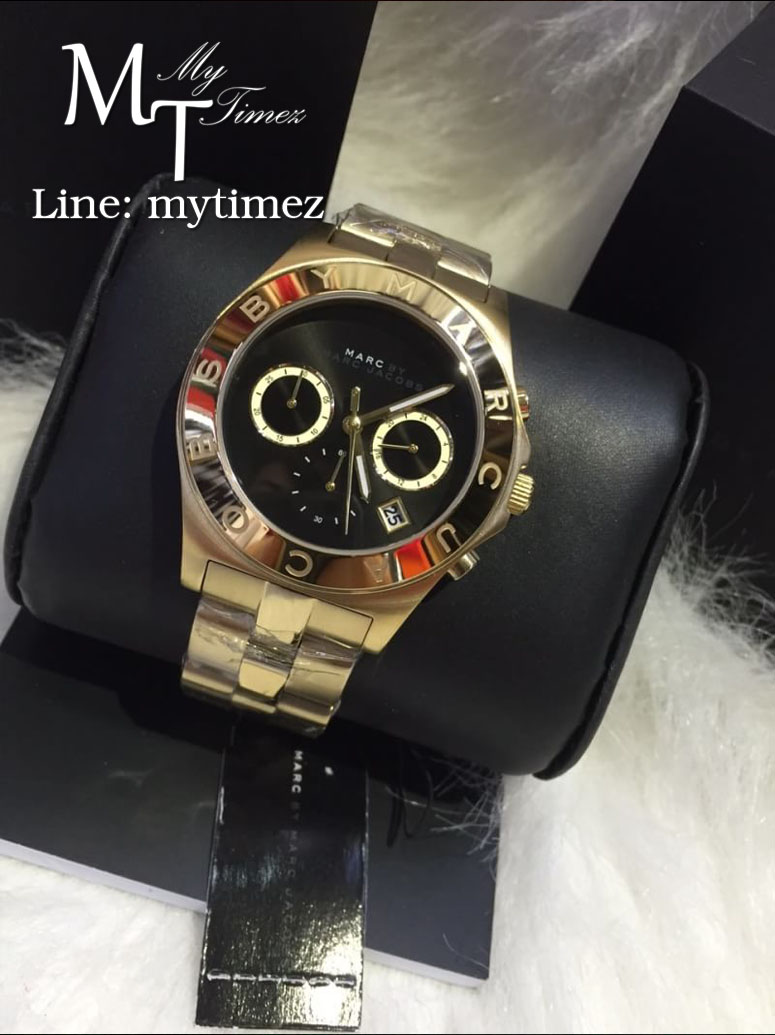 MARC BY MARC Blade Black Dial Gold Tone Ladies Watch MBM3309