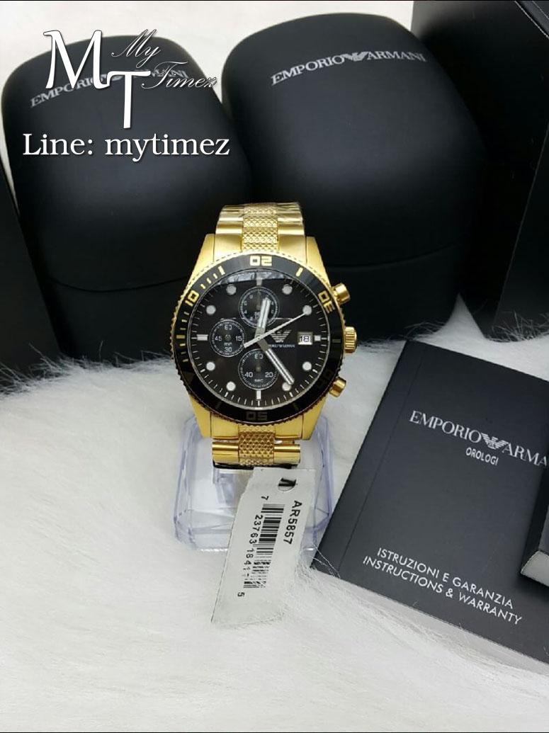 นาฬิกาข้อมือ Emporio Armani Men's Chronograph Gold Stone 42MM AR5857