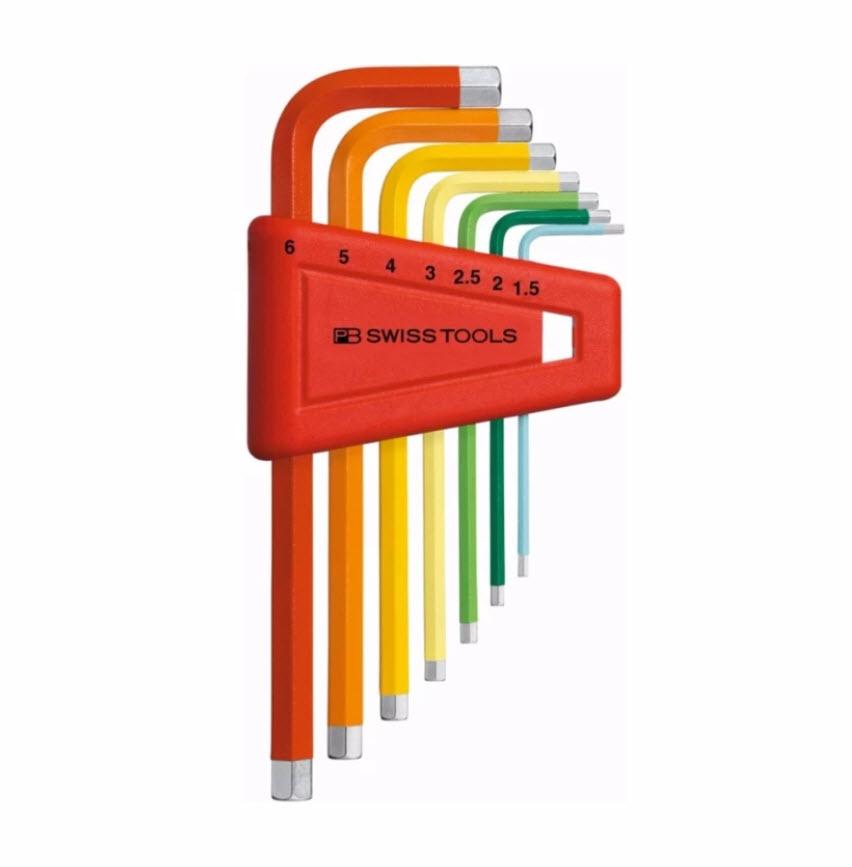 หกเหลี่ยมชุด PB Swiss Tools หัวตัด สั้น รุ่น PB 210 H-6 RB Multicolor (7 ตัว/ชุด)