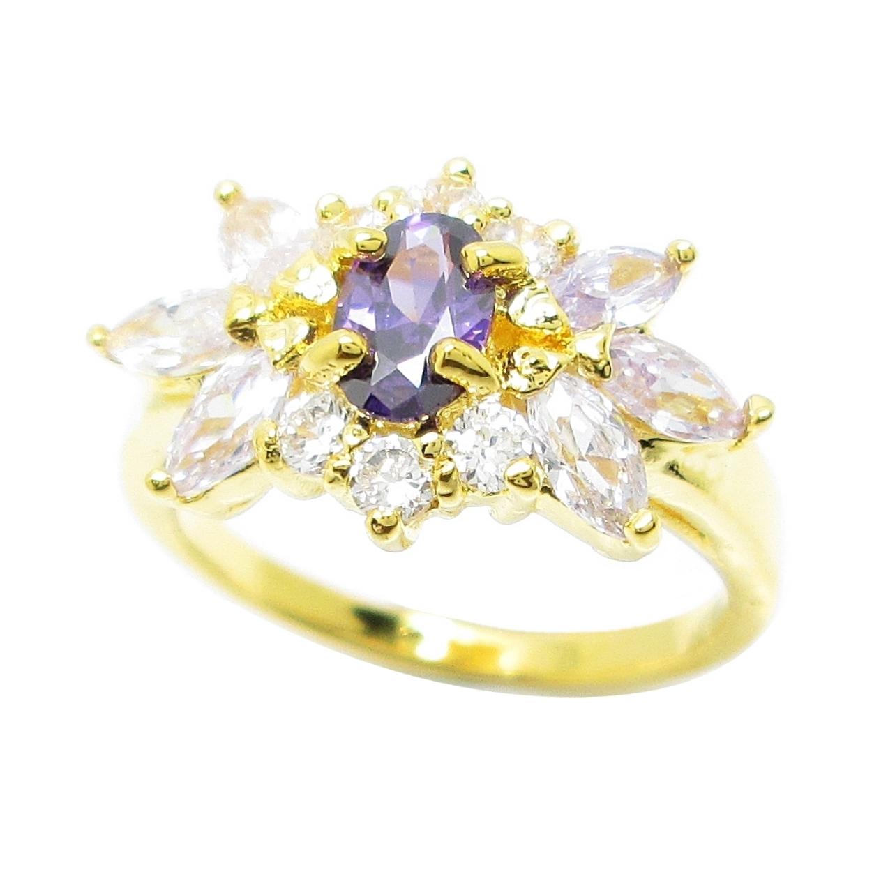 แหวนดอกไม้พลอยอเมทิสประดับเพชรและพลอยมาคีย์ลาเวนเดอร์ชุบทอง