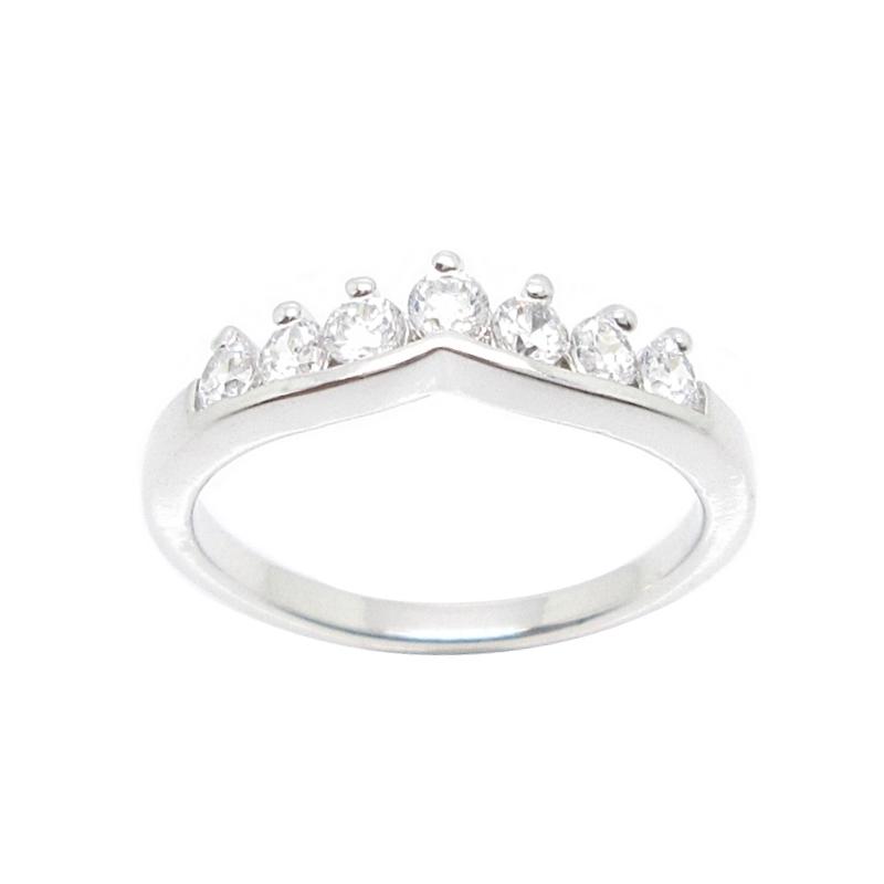 แหวนแถวโค้งประดับเพชรชุบทองคำขาว