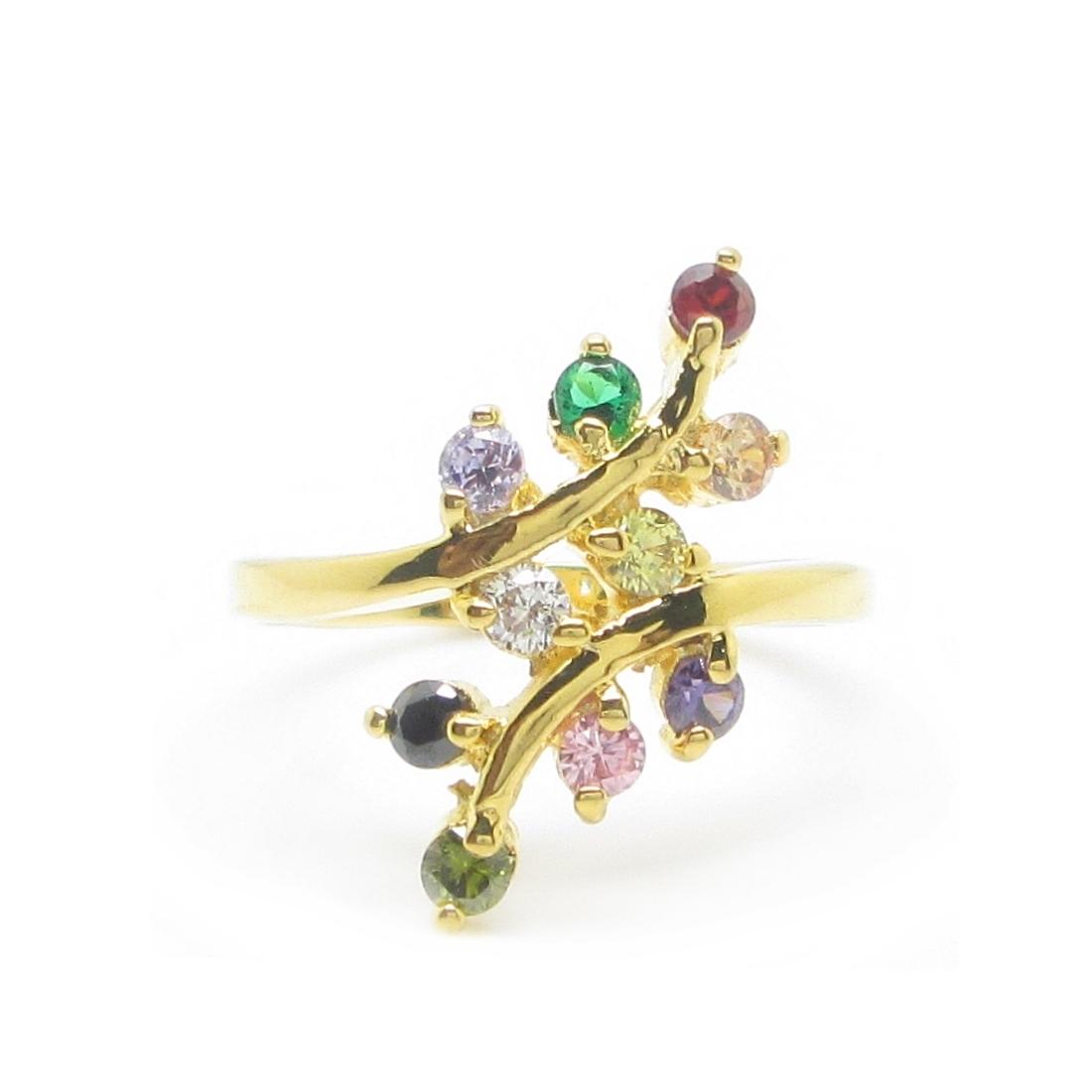 แหวนประดับพลอยมณีนพเก้าก้านแยกชุบทอง