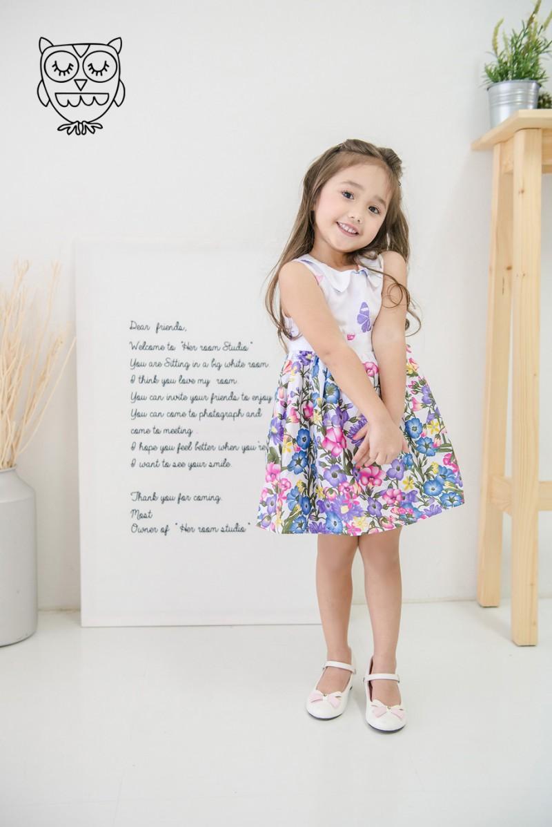 เดรสเด็กหญิง ลายดอกไม้ โทนม่วงขาว
