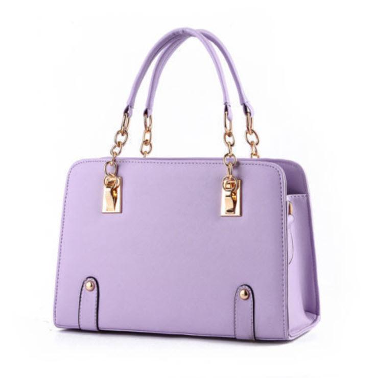 กระเป๋าหิ้วหนัง สีม่วง