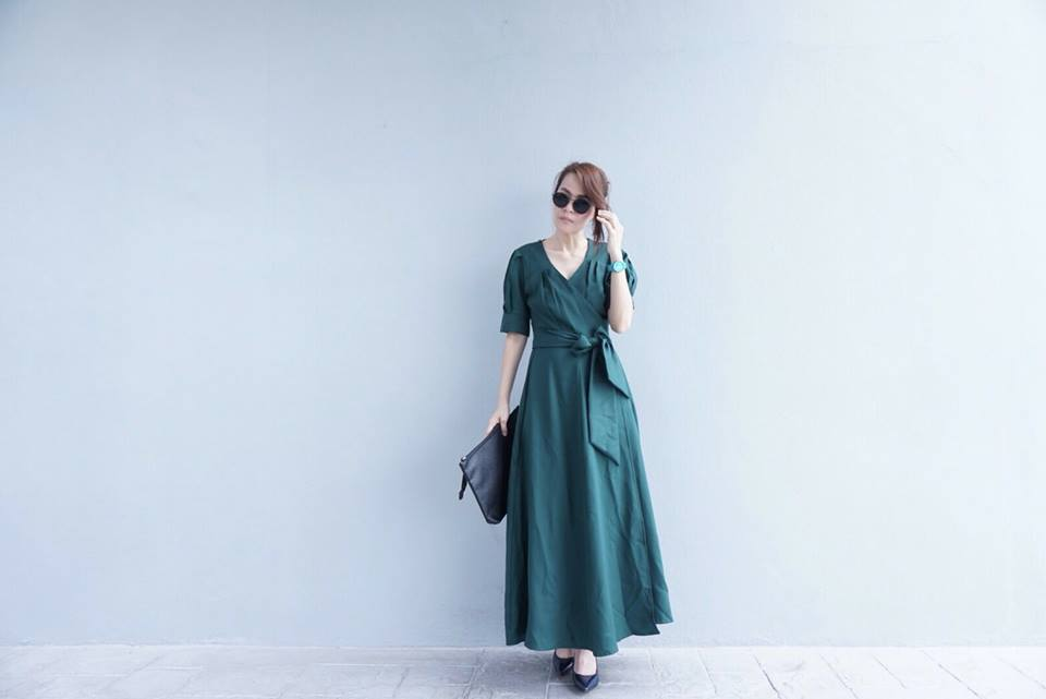 Wrapped Maxi Dress สีเขียว