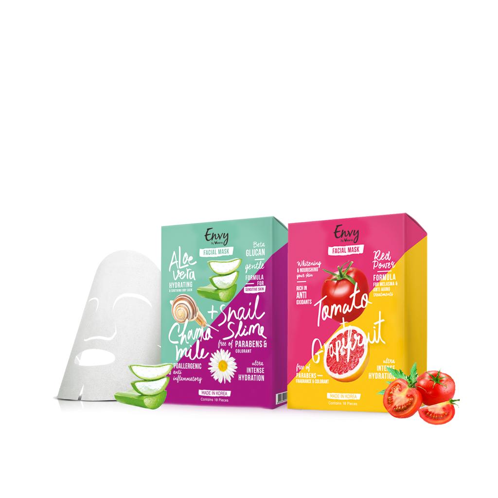 Envy Mask Tomato 1 กล่อง+ Mask Snail Slime 1 กล่อง