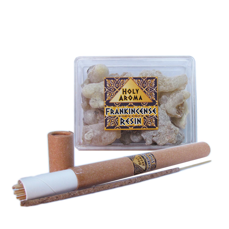 กำยาน เม็ดกำยาน เรซิ่น อโรม่า Frankincense Resin Gum Tear แท้ 100% 50g + ธูปกำยาน ธูปแท่ง อโรม่า Frankincense Stick (Superior Grade) แท้ 100% 20g