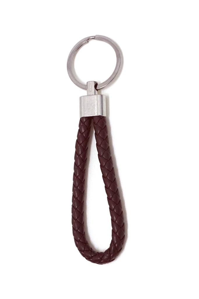 พวงกุญแจ(หนังเทียม)ห้อยกระเป๋า เกลียวสีน้ำตาล 12อัน