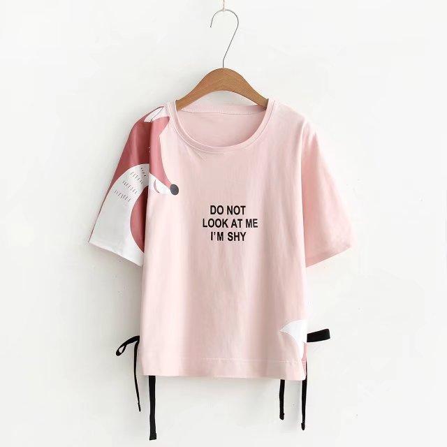 เสื้อยืดสีชมพูลายจิ้งจอกน่ารักๆ