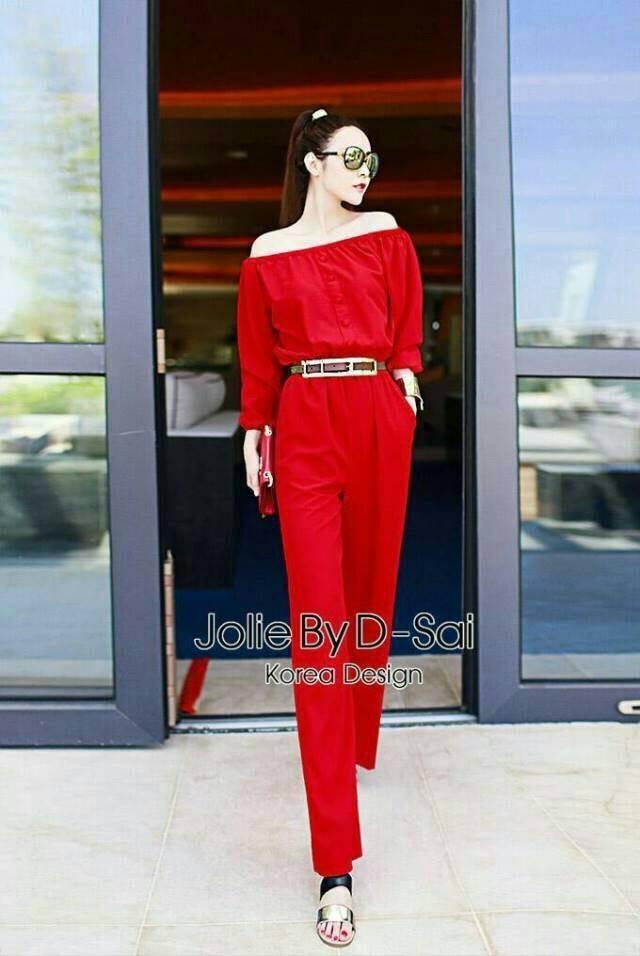 จั๊มสูทเปิดไหล่ขายาว (สีดำ) Jolie By D-Sai JumpSuit ~ Korea Design