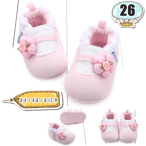 รองเท้าเด็กอ่อน ลายดอกไม้กลม สีชมพู - Pink one flower