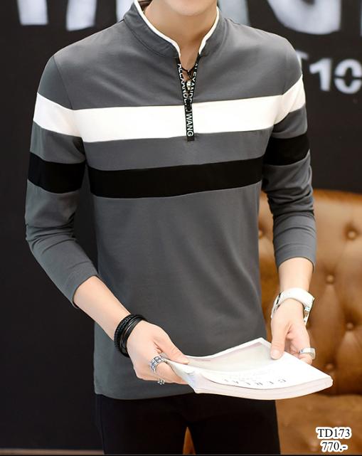 เสื้อแขนยาวคอโปโลแฟชั่นเกาหลีเท่ห์ๆ