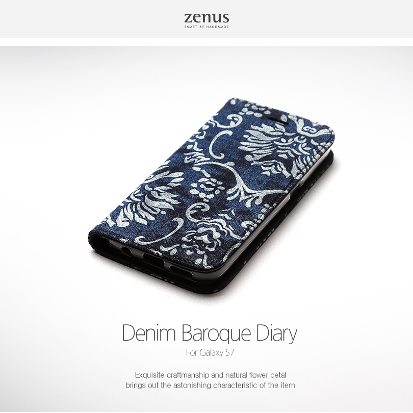 Zenus : Denim Baroque Diary / Carrying Case Cover For Galaxy S7