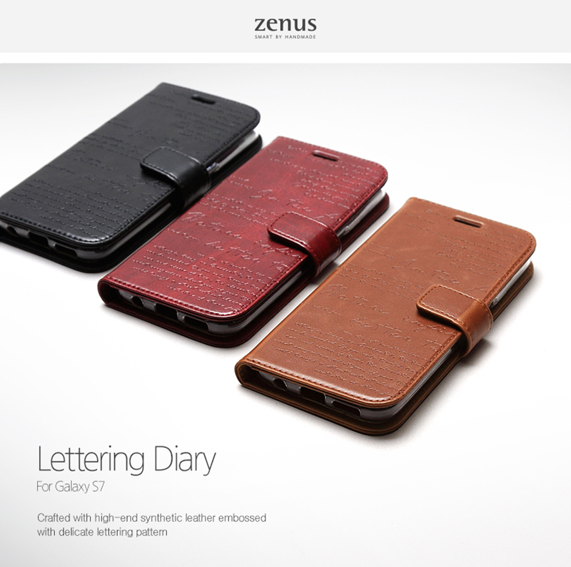Zenus : Lettering Leather Protect Card Slim Diary Cover Case For Galaxy S7