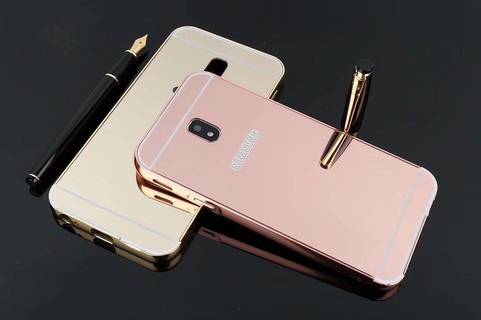 (025-1169)เคสมือถือซัมซุง Case Samsung J3 Pro 2017 เคสกรอบบัมเปอร์โลหะฝาหลังอะคริลิคแววกึ่งกระจก