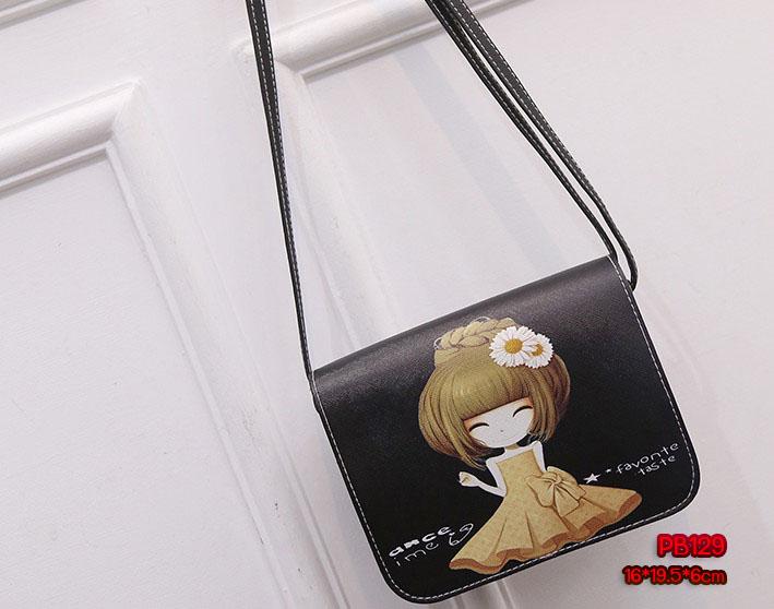 PB129 กระเป๋าหนัง สะพาย ลายเด็กผู้หญิงกระโปรง น้ำตาล