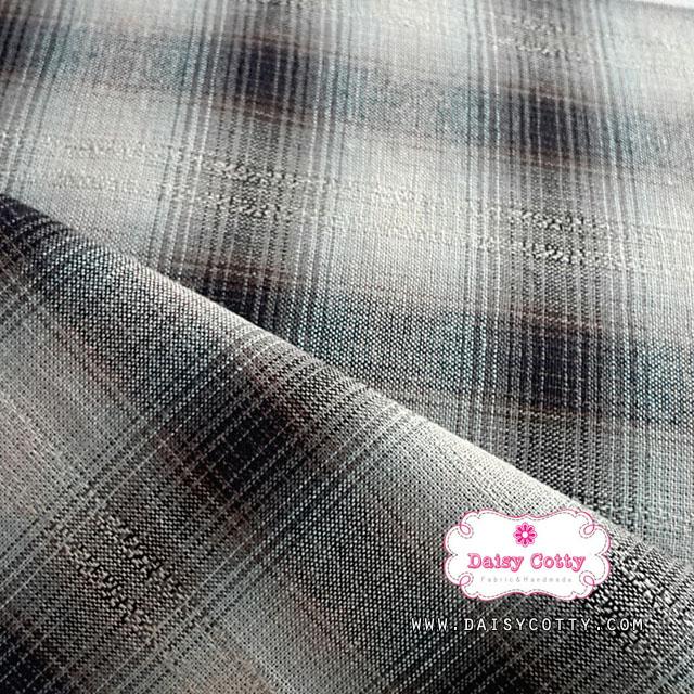 ผ้าทอญี่ปุ่น 1/4ม.(50x55ซม.) ทอไล่สี โทนสีน้ำเงินเข้ม