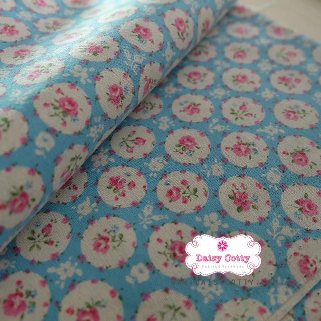 ผ้าคอตตอนลินินญี่ปุ่น 100% 1/4 ม.(50x55ซม.) พื้นสีฟ้า ลายดอกไม้