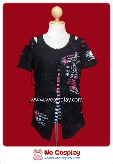 เสื้อยืดพังค์แขนสั้น เปิดไหล่ สีขาวดำ Punk T-Shirt เปิดเสื้อได้สองชั้น