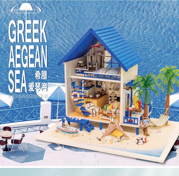 ฉาก DIY Greek Aegean Sea. (จัมโบ้)