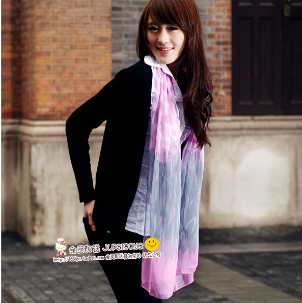 ผ้าพันคอผ้าไหม เสือชีตาร์สีชมพูเทา ( รหัส P141 )