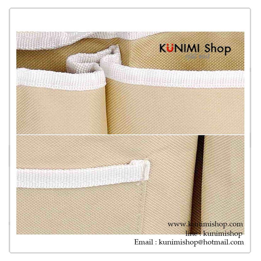 กระเป๋าผ้าแบบแขวนที่ปลายเตียง มีช่องใส่ของแยกประเภทในแบต่างๆ สะดวกในหารหยิบใช้งาน สร้างความเป็นระเบียบให้กับห้องนอน ยึดติด โดยการใช้ตัวเตียงนอนวางทับที่ตัวหูที่สองข้างครับ หรือ จะใช้ตะปูตอกยึด , ติดกาวสองหน้า ก็ได้ครับ