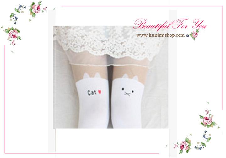 ถุงน่องแบบเต็มตัวน่ารัก สีทูโทน สีเนื้อและดำ และ สีเนื้อและขาว ลายแมวเหมียว พิมพ์ว่า cat