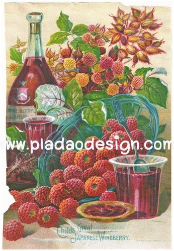 กระดาษสาพิมพ์ลาย rice paper สำหรับทำงาน เดคูพาจ Decoupage แนวภาพ Japanese Wineberry ลูกเบอร์รี่ญี่ปุ่น สีแดงสด น่ากิ๊นน่ากินเนอะ (pladao design)