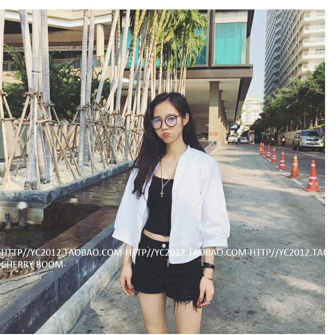 เสื้อคลุมกันแดดแฟชั่น ดีไซน์เกาหลี ผ้าโพลี สีขาว