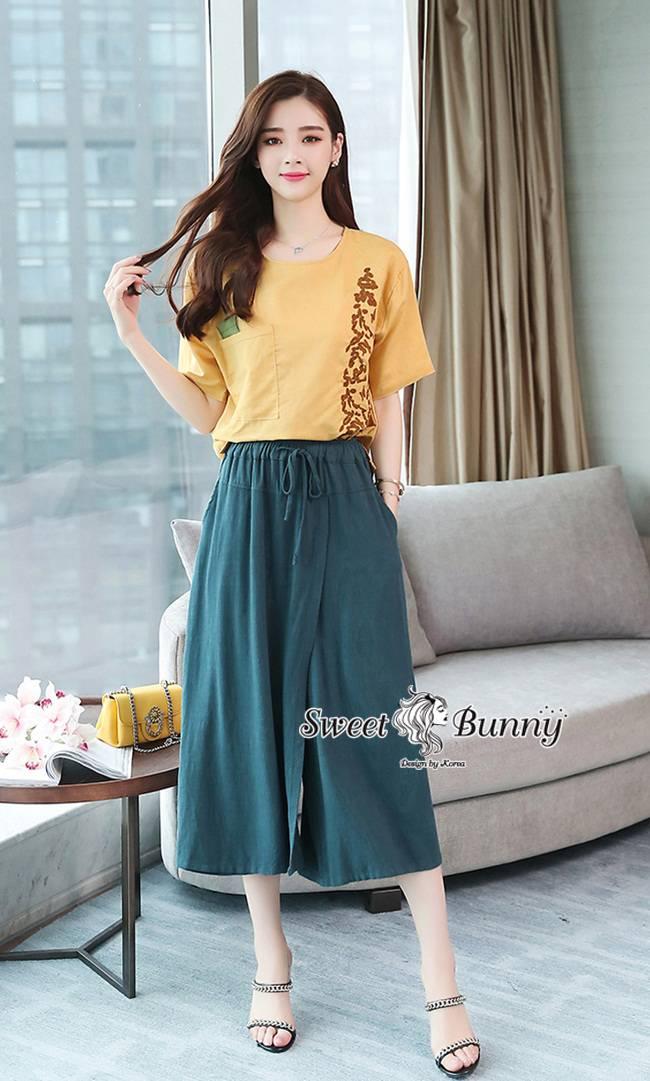 ชุดเซทแฟชั่น ชุดเซ็ทเสื้อ+กางเกงเกาหลี เสื้อผ้าทอสีเหลืองเนื้อดีผ้านุ่ม