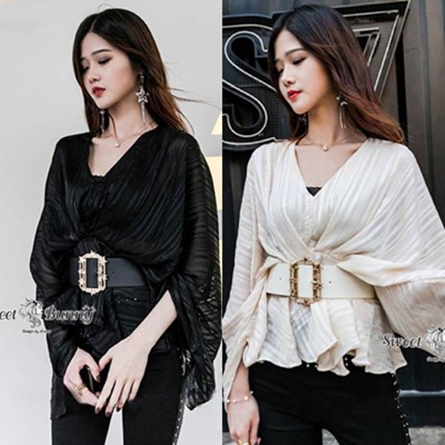 เสื้อแฟชั่น เสื้อเกาหลี+เข็มขัด ผ้าไหมวิ้งเกาหลีเนื้อดี ผ้าเกาหลีแท้เนื้อดี