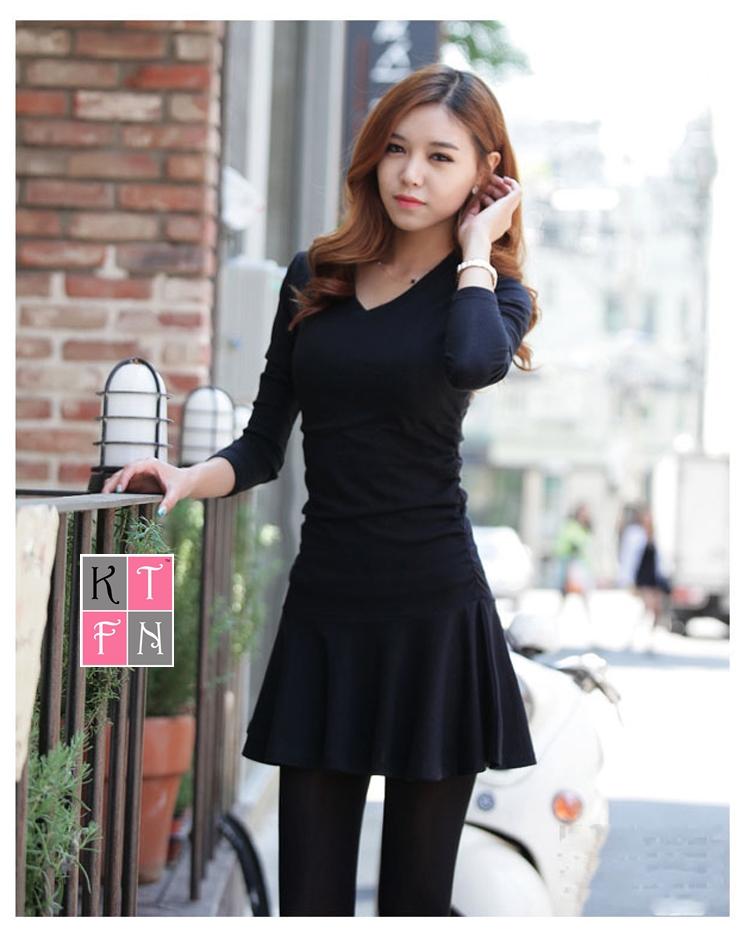 KTFN เดรสแฟชั่นเกาหลี ผ้ายืดหยุ่นนิ่ม ตัดต่อชายกระโปรงบาน สีดำ
