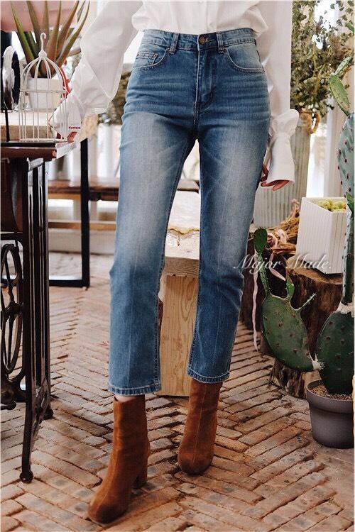 กางเกงแฟชั่น กางเกงยีนส์ฟอกทรงบอย เอวสูง