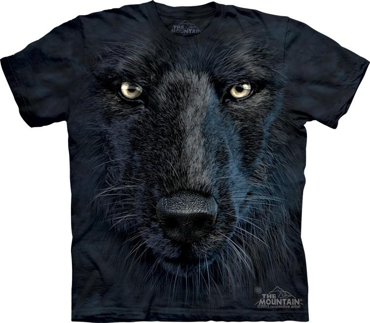 Pre.เสื้อยืดพิมพ์ลาย3D The Mountain T-shirt : Black Wolf Face