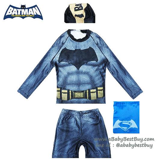 (สำหรับเด็กอายุ 6เดือน-14 ปี) ชุดว่ายน้ำเด็กผู้ชาย Bat man มาพร้อมกับเสื้อแขนยาวสกรีนโลโก้ แบทแมน กางเกงขาสั้น มาพร้อมหมวกว่ายน้ำและถุงผ้า สุดเท่ห์ ใส่สบาย ลิขสิทธิ์แท้