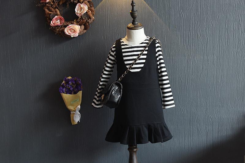 ชุดเด็กผู้หญิงสีดำ ชุดเดรสเด็กสีดำ เสื้อ + เดรส