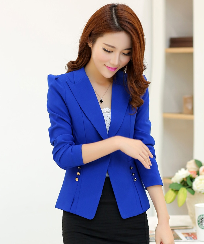 Pre-Order เสื้อสูทแฟชั่น สีน้ำเงิน ปกสูท ติดกระดุมเม็ดเดียว เสื้อสูทเข้ารูปสุดหรู ใส่ทำงานได้